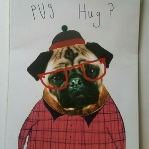 Society 6 Cardboard Poster Pug Hug Wall Decor